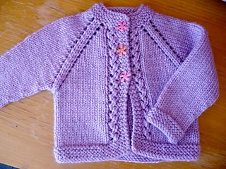 This is one of the baby patterns in the Need A Baby Cardigan book by Cabin Fever. This pattern can be worked in any gauge of yarn from sock weight to chunky (bulky) weight. Lace is only one of the stitch patterns available.