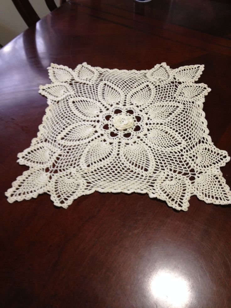 Crochet Cream color square pineapple doilies doily center rose 16 inches handmade by fancycrochet on Etsy