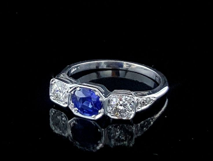 Vintage Style Ceylon Sapphire and Diamond Three Stone Ring $4,650- by Dale Humphries #sapphire #diamond #trilogy #gold #ring #lghumphries #humphries #sydney #australia #vintage #antique #bespoke