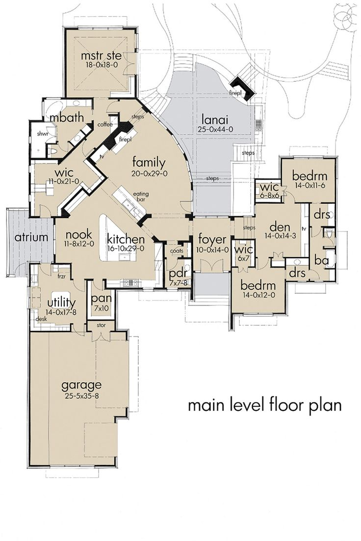 Contemporary Style House Plan - 3 Beds 3.5 Baths 3638 Sq/Ft Plan #120-188 Floor Plan - Main Floor Plan - Houseplans.com