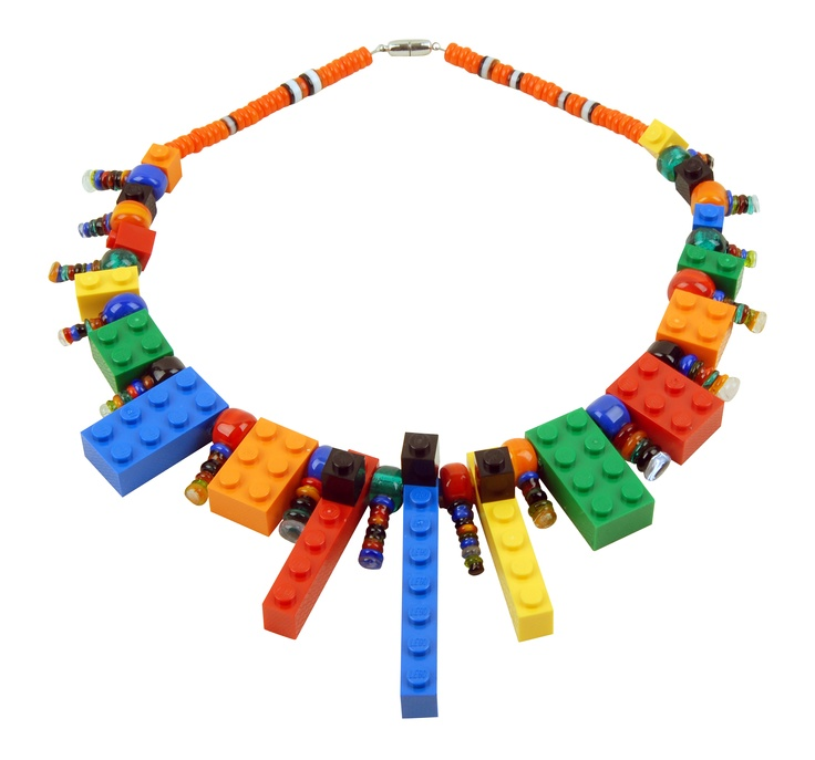 lego necklace with glass beads  by Burcu Tansug Ozgoren: Beads Www Burcutansug Com, Burcu Tansug, Glasses Beads, Parties Stuff, Lego Parties, Lego Necklaces, Tansug Ozgoren, Beads Wwwburcutansugcom