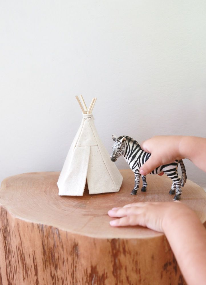 Cute as a button Dollhouse size teepee!Just under 15cm HighNatural Canvas materialGentle play only. Please allow 1 week for orders, plus postage time*Animal not included.