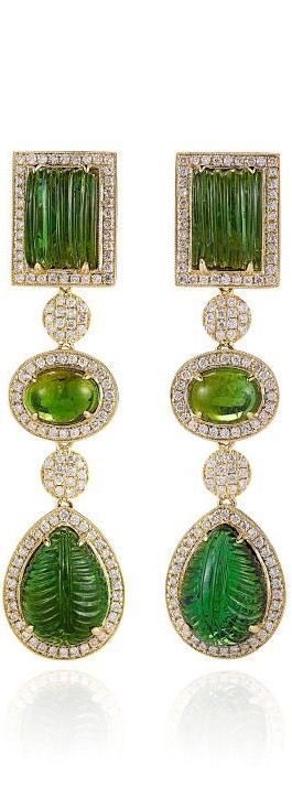 Green Tourmaline And Diamonds Earrings In Yellow Gold by Dana Rebecca