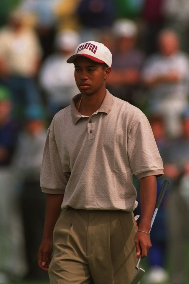 Tiger Woods at the Masters in 1995. This was his first PGA tournament. cbssports.com