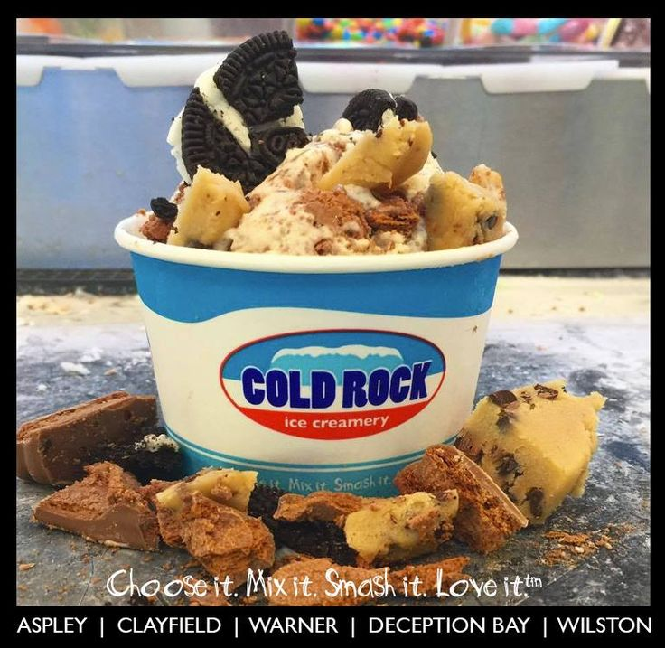 One of our most popular tasty combos! Cold Rock Cookie Jar. Cookies & cream ice cream mixed in with oreo, timtam and cookie dough #therock