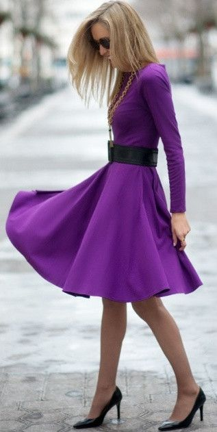 Modest Perfect flare midi dress with long sleeves and high neck conservative tznius fashion