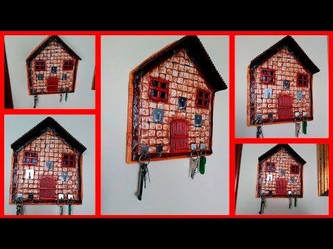 portallaves y porta sobres hecho de carton - YouTube