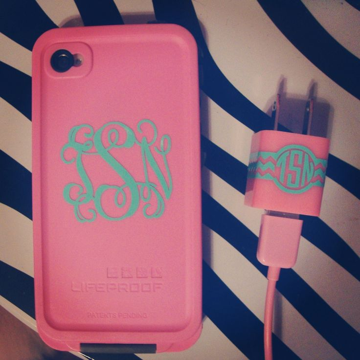 Monogrammed Lifeproof case & charger. So cute!