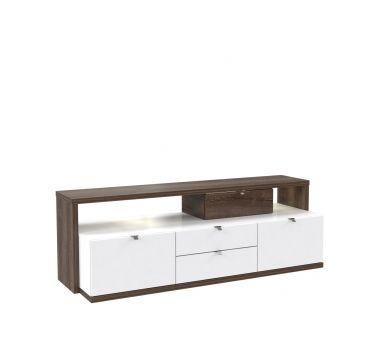 Kolekcja ALCANo to także szafka RTV, zachowana w tonacji biało-brązowej. Reszta mebli z kolekcji dostępna na stronie http://www.forte.com.pl/pl