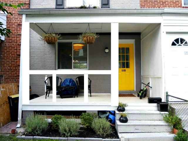 Fun front porch before and after from OneTenPlusTwo.com