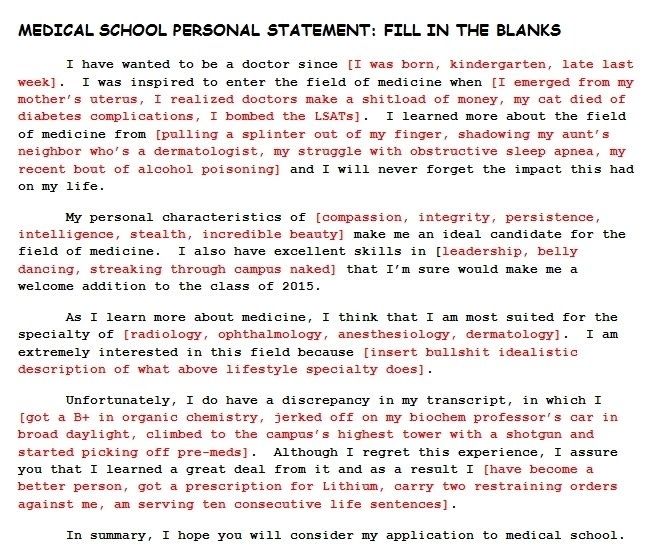 How to write a good personal statement for medical school