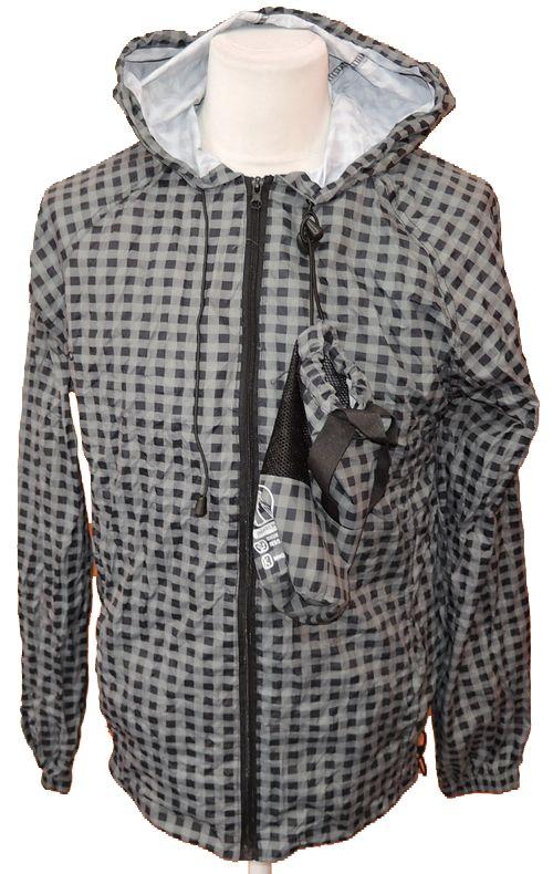 BRUMLA.CZ – Značkový dětský a dospělý second hand a outlet, použité oděvy pro děti a dospělé - Pánská černo-šedá kostkovaná šusťáková jarní bunda s kapucí zn. Cedarwood state vel. M