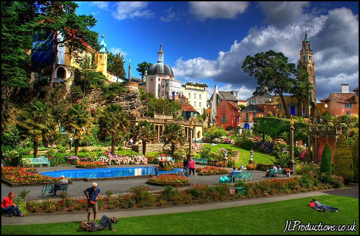 The Welsh resort of Portmeirion in Northern Wales. The charming village was built in 1925 by a landscaper and architect - it looks like Disneyland, the Italian Riviera, and Munchkinland combined