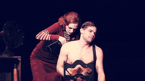 Laura osnes and jeremy Jordan in Bonnie and Clyde (gif). I started crying during this part he just looked like he was in such pain WOOHOO acting