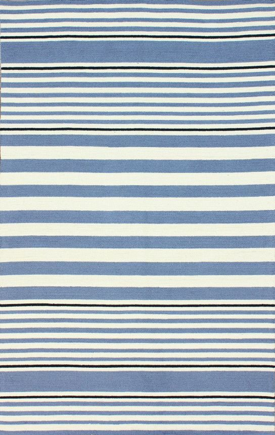 Rugs Usa Homespun Paulette Stripes Blue Rug 100 Wool