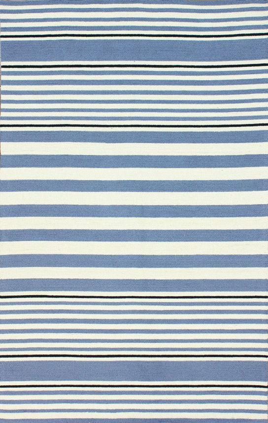 Rugs Usa Homespun Paulette Stripes Blue Rug 100 Wool