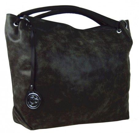 Velká kabelka do ruky z broušené kůže TH2009 černá - Kliknutím zobrazíte detail obrázku.