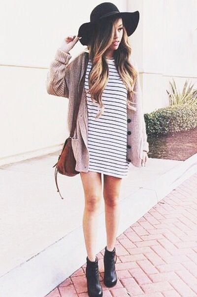 striped dress+cardigan+boots=hipster outfit idea