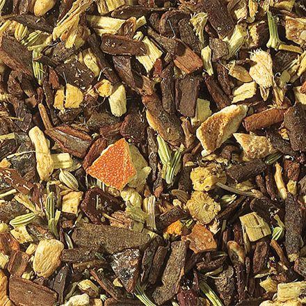 Anti-Stress : Contient: morceaux de cannelle, racine de réglisse, morceaux de gingembre, fenouil, écorces d'oranges, cardamone