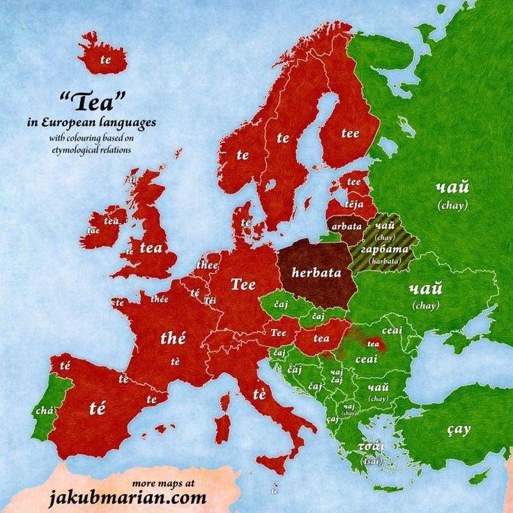 """""""Tea"""" in European Languages [770x770]"""