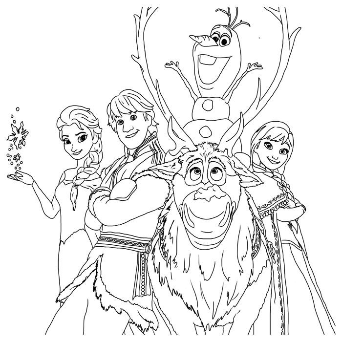 Frozen Coloring Pages The Gang Frozen Coloring Frozen Coloring Pages Elsa Coloring Pages