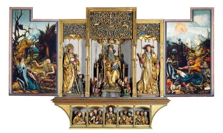 Hl. Augustinus und Guy Guers, Hl. Antonius, Opferträger, Hl. Hieronymus, Christus und die Apostel Der geöffnete Altar gab den Pilgern …