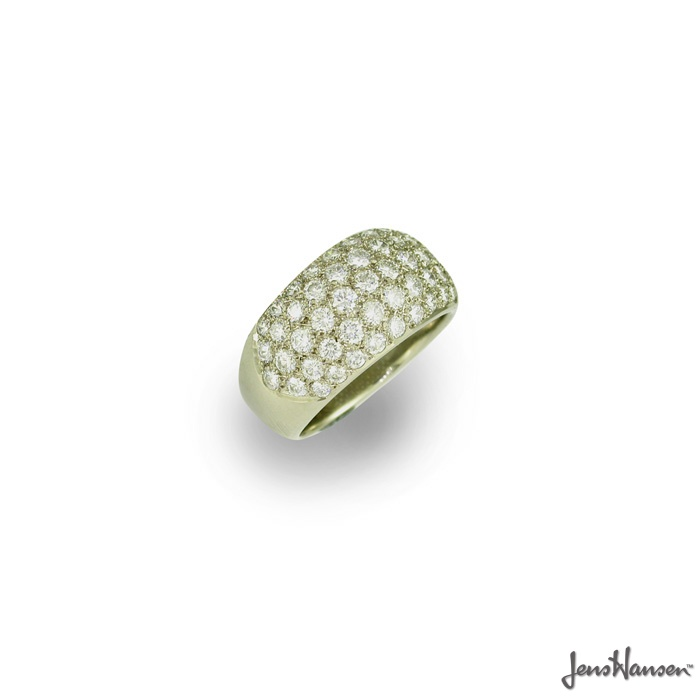 49 DIAMONDS. 18ct White Gold Dome Ring, set with 49 Round Brilliant Pave set Diamonds. Approx price $9675