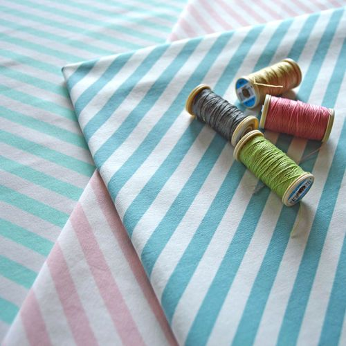 NOSH Organics Fabrics - Diagonal stripe, Mint/ Natural
