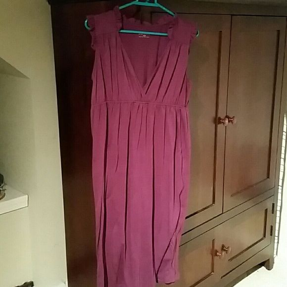 Comfy plum dress Empire elastic seam, ruffles on collar and shoulder.  Worn once. Merona Dresses