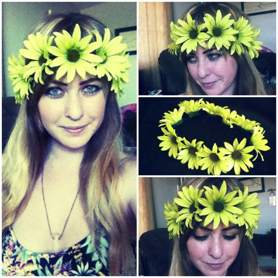 """The """"Gemini"""" Flower Crown // daisy flower crown // simple // edc // hard summer // hipster // summer style on Etsy, $15.00"""