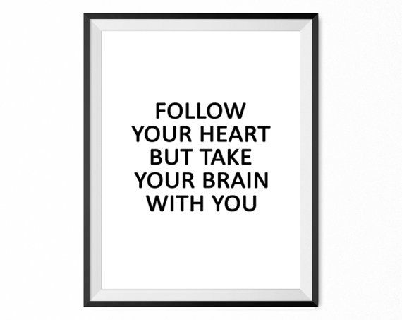 Follow your heart print home poster wall decor by thevertu on Etsy