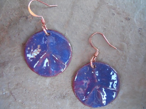Transparent Blue Peace Sign Earrings by TurtleLaneCollective, $25.00