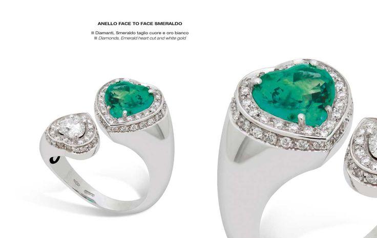 Anello face to face smeraldo - Diamonds, Emerald heart cut and white gold - Diamanti, Smeraldo taglio cuore e oro bianco #jewelry #gioielli #luxury #madeinitaly #classic