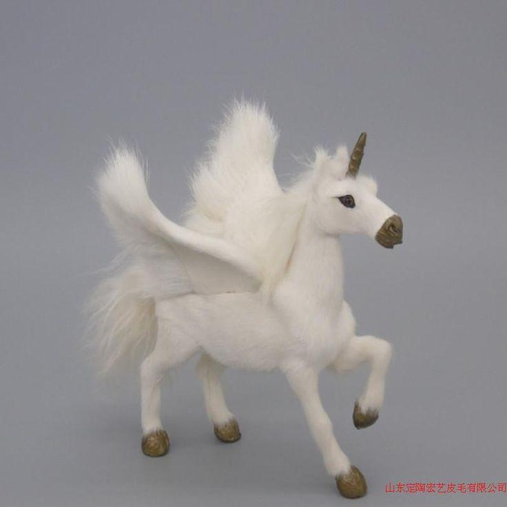 simulation unicorn toy polyethylene & furs lovely wings unicorn model about 15x16cm 096