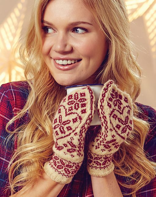 Ravelry: Floral Heart Mittens pattern by Jessie McKitrick