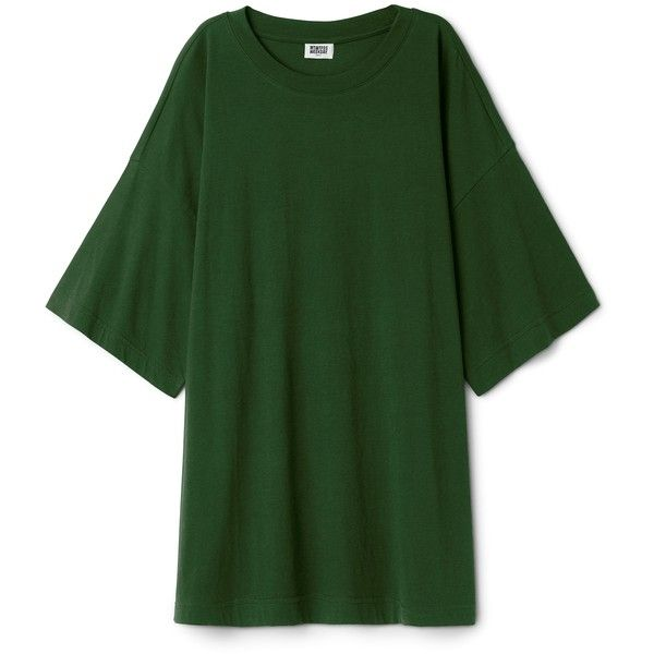 Huge T-Shirt Dress (34.020 HUF) ❤ liked on Polyvore featuring dresses, ribbed dress, cotton jersey, green t shirt dress, half sleeve dresses and t-shirt dresses
