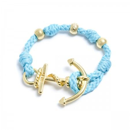 Adjustable Bracelet (up to 22 cm) spheres and anchor to choose between silver or gold. Bracelet Color: Sky-blue Made in Italy