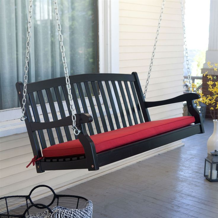 Black Wood 4-Ft Porch Swing with Brick Red Cushion and Hardware