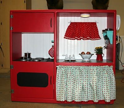 tv stand play kitchen | From Thrift Store TV Stand to Adorable Play Kitchen | Money Saving Mom ...