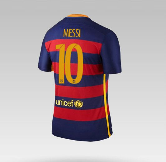 Maillot de foot Barcelone Domicile 2015/2016 (10 Messi) Bleu Rouge
