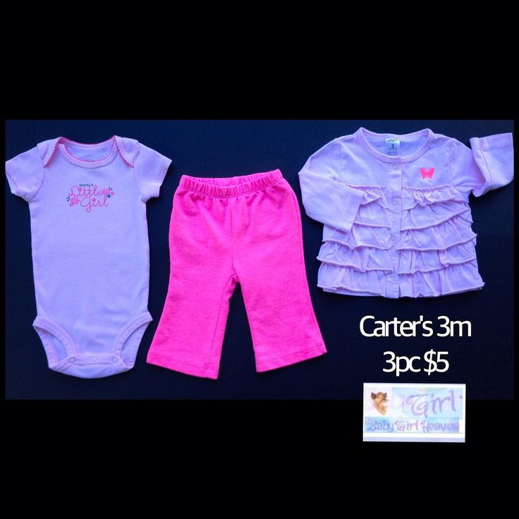 "Carter's 3m Infant Girls ""Daddy's Little Girl"" 3pc Mix & Match Outfit Set $5"