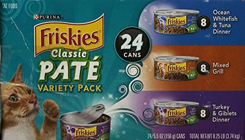 Friskies Classic PATE Variety Pack  Ocean Whitefish  Tuna Dinner Mixed Grill Turkey  Giblets Dinner Canned Cat Food >>> Check out the image by visiting the link.Note:It is affiliate link to Amazon.