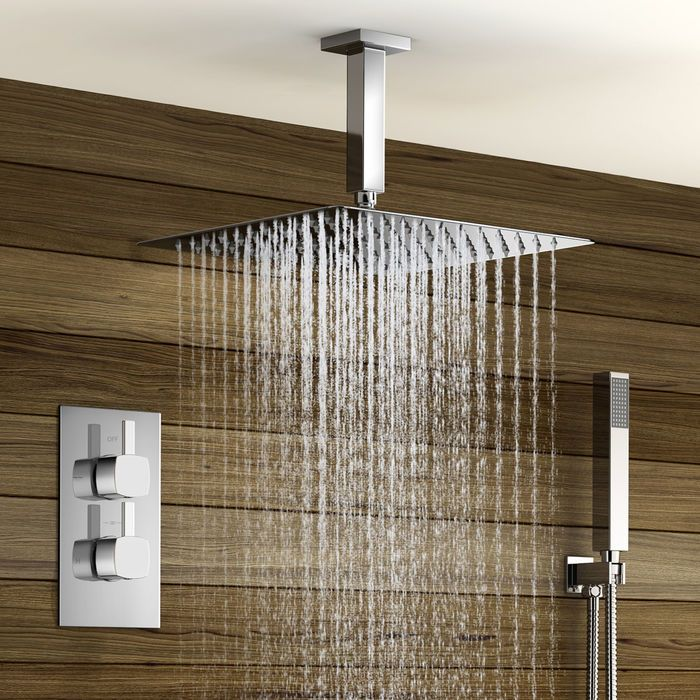 Square Concealed Thermostatic Mixer Shower Kit Large Ceiling