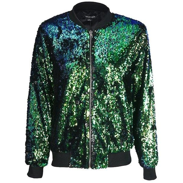 HaoDuoYi Womens Casual Lightweight Sequin Zipper Bomber Jacket ($27) ❤ liked on Polyvore featuring outerwear, jackets, lightweight zip jacket, green flight jacket, lightweight bomber jacket, zip bomber jacket and bomber style jacket