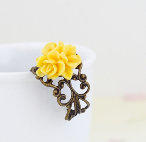 Canary Yellow Flower Ring Yellow Floral Ring by JacarandaDesigns, $13.00