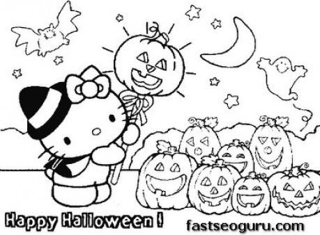 Printable Hello Kitty Halloween With Pumpkins Coloring Page