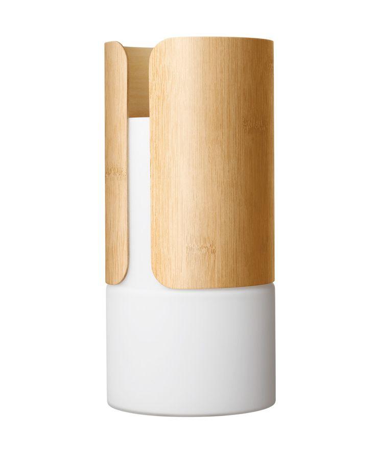 Vase, ceramic, white, wood, bamboo More