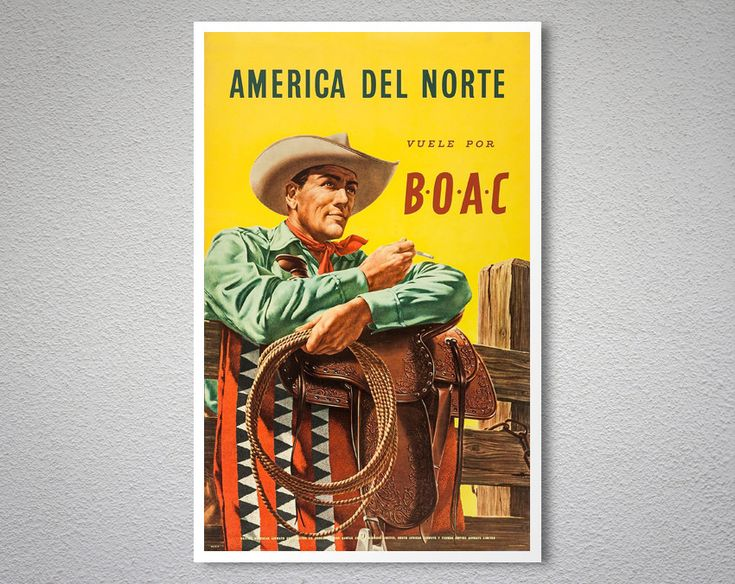 America del Norte Vuele por BOAC Vintage Travel Poster