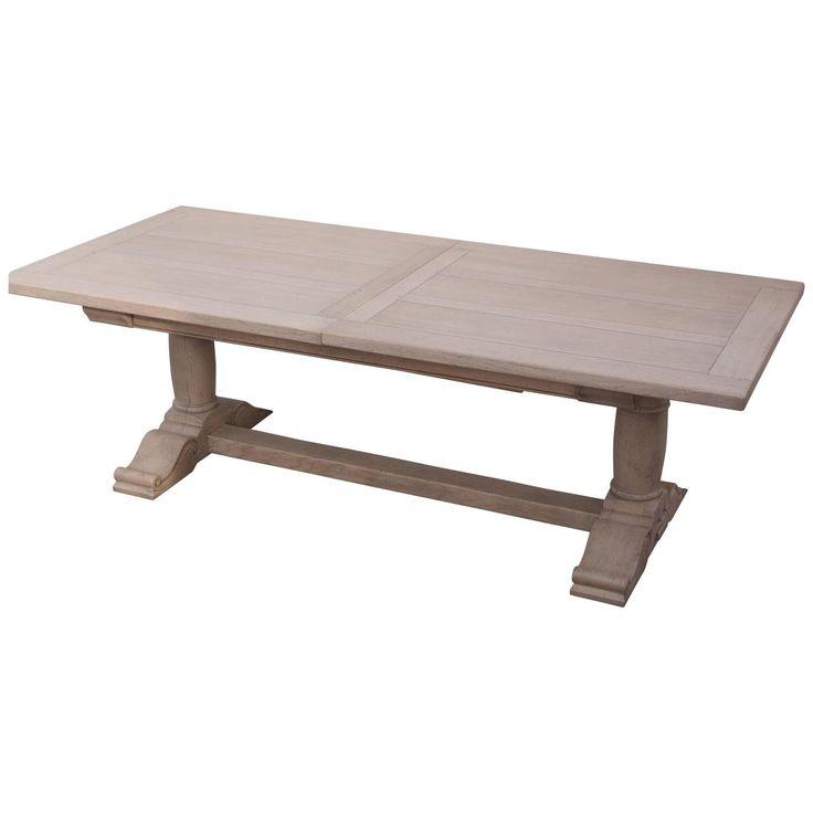 French Handmade Oak Extending Pedestal Dining Table