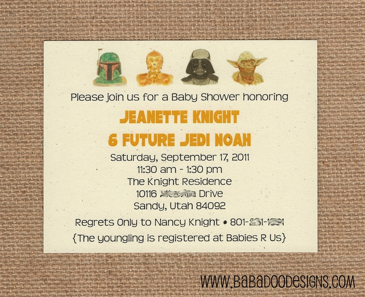 star wars baby shower invitation shut your face